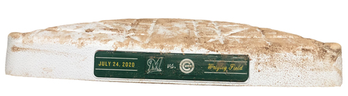 Photo of Game-Used 3rd Base -- Used in Innings 7 through 9 -- Opening Day 2020 -- Brewers vs. Cubs -- 7/24/20