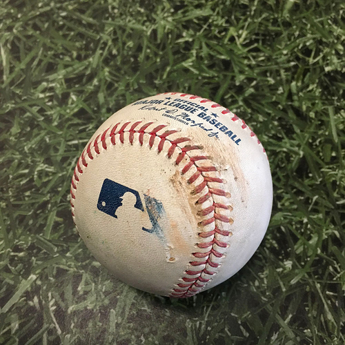 Photo of Game-Used Baseball MIN@MIL 04/03/21 - Brent Suter - Nelson Cruz: Strike
