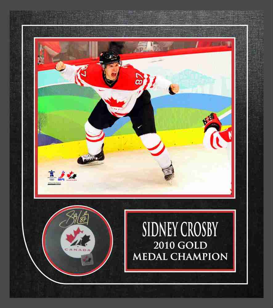 Sidney Crosby - Signed & Framed Team Canada Puck Etched Mat- Featuring 8x10