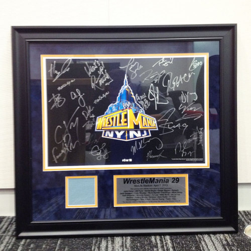 WrestleMania SIGNED Plaque with piece of USED Ring Canvas (#3 of 10)
