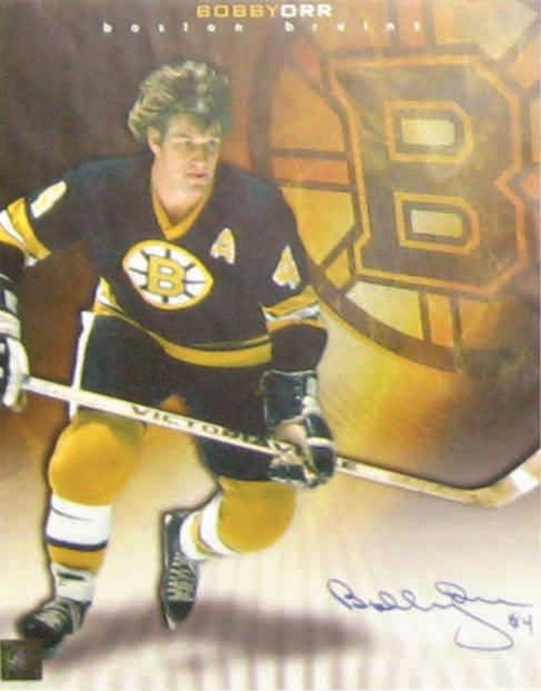 Bobby Orr - Signed 10.5x13 Bruins image w Logo Collage