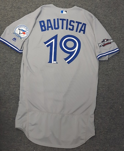 Photo of Authenticated Team Issued 2016 Postseason Jersey - #19 Jose Bautista. Size 42