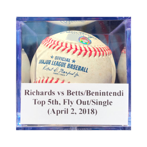 Photo of Game-Used Baseball: Richards vs Betts/Benintendi (BOS), Top 5th, Fly Out/Single (April 2, 2018) *1st hit of 2018*