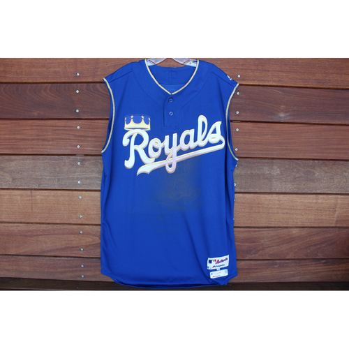 Photo of Game-Used Turn Ahead the Clock Jersey: Mike Moustakas 135th Career Home Run (Size 48 - KC at SEA - 6/30/18)