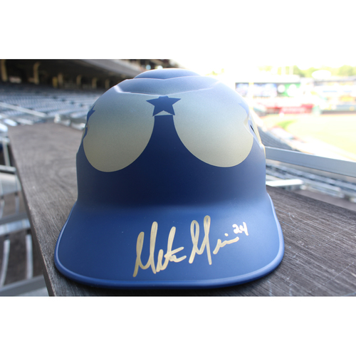 Photo of Game-Used and Autographed Turn Ahead The Clock Coaches' Helmet: Mitch Maier (Size 7 1/8 - KC @ SEA - 6/30/18)