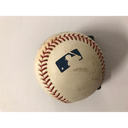 Photo of Ozzie Albies Game Used Hit Single & Nick Markakis hit Double baseball - 6/23/2018