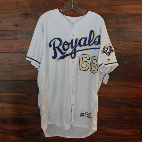 Photo of Game-Used Jersey: Ryan O'Hearn 10th Career Double (Size 48 - CLE @ KC - 9/28/18)