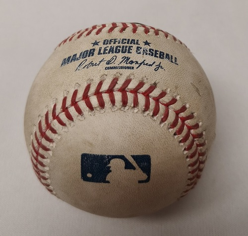 Photo of Authenticated Game Used Baseball - Nick Markakis RBI Single against Roberto Osuna (May 16, 2017 vs ATL). Top 9.