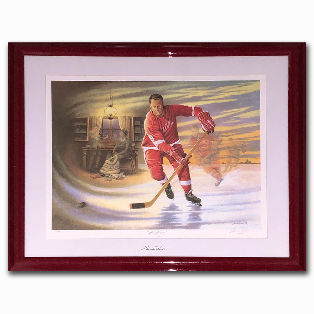 Gordie Howe Autographed Limited-Edition Mr. Hockey Framed Lithograph - Once Hung in Howe's Home