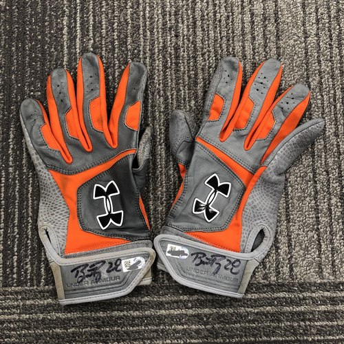 Photo of Buster Posey BP28 Foundation - Player Collected Autographed Batting Gloves signed by #28 Buster Posey