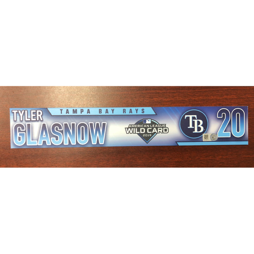 Photo of Game Used A.L. Wild Card Locker Tag: Tyler Glasnow - First Career Post Season Game