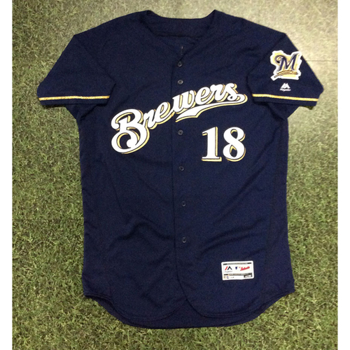 Mike Moustakas 08/05/18 Game-Used Navy Alternate Jersey - 1st HR with Milwaukee Brewers