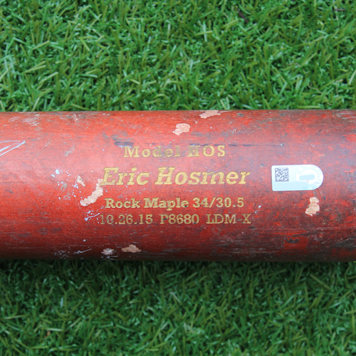 Game-Used and Autographed Broken Bat: Eric Hosmer Ground Out Double Play (KC @ MIN - 9/7/16)