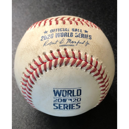 Photo of Game-Used Baseball - 2020 World Series - Los Angeles Dodgers vs. Tampa Bay Rays - Game 3 - Pitcher: Charlie Morton, Batter: Austin Barnes (Sacrifice Bunt, Bellinger Scores) - Top 4