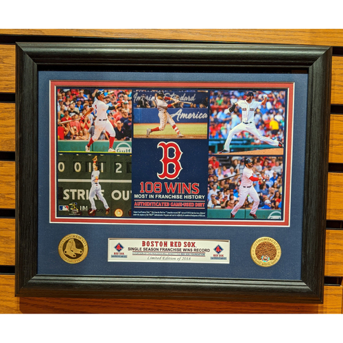 Photo of Boston Red Sox Single Season Record 108 Wins Game Used Dirt Coin Framed Photo