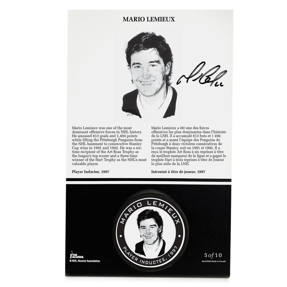 Mario Lemieux Autographed Legends Line Honoured Member Puck Stand - Limited Edition 5/10
