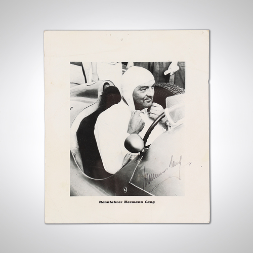 Photo of Hermann Lang Signed Mercedes Photograph