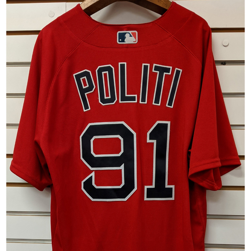 Photo of A.J. Politi #91 Team Issued Nike Red Spring Training Jersey