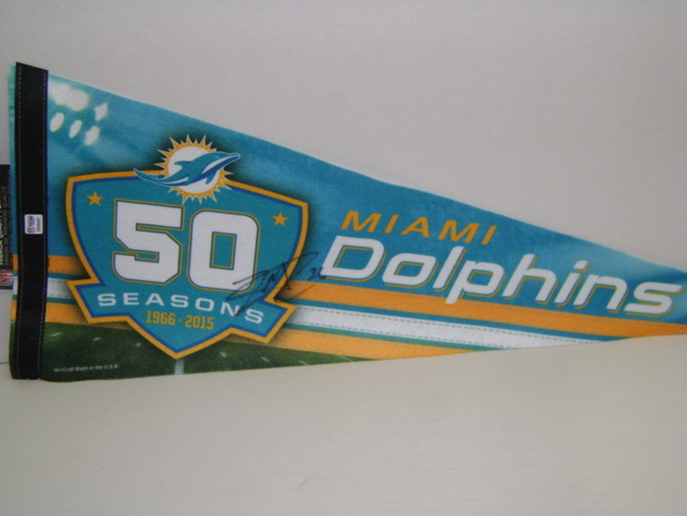 DOLPHINS - LAMAR MILLER SIGNED DOLPHINS PREMIUM PENNANT