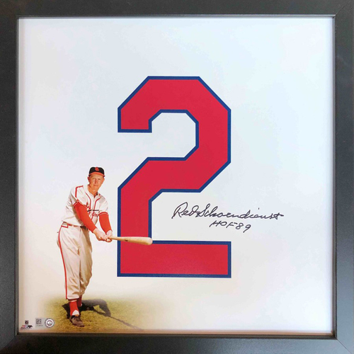 "Photo of Cardinals Authentics: St. Louis Cardinals Red Schoendienst Autographed 14""x14"" Uniframe"