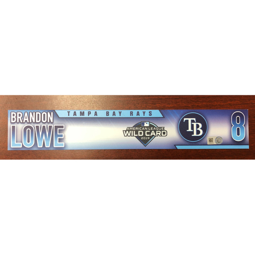 Photo of Game Used A.L. Wild Card Locker Tag: Brandon Lowe - First Career Post Season Game