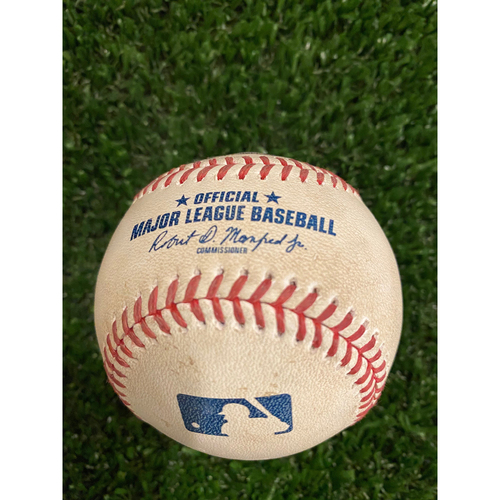 Photo of Game Used Baseball - Batter: Ronald Acuna, Jr. Pitcher: Matt Shoemaker, Strike - 8/4/20