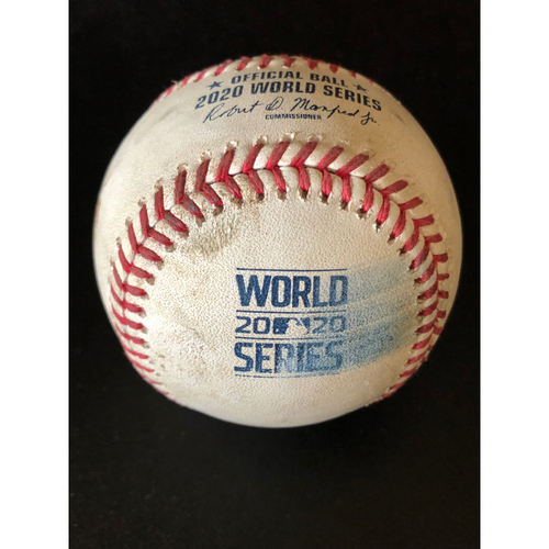 Photo of Game-Used Baseball - 2020 World Series - Los Angeles Dodgers vs. Tampa Bay Rays - Game 3 - Pitcher: Walker Buehler, Batters: Ji-Man Choi (Strike Out), Manuel Margot (Strike Out), Joey Wendle (Foul) - Bot 2
