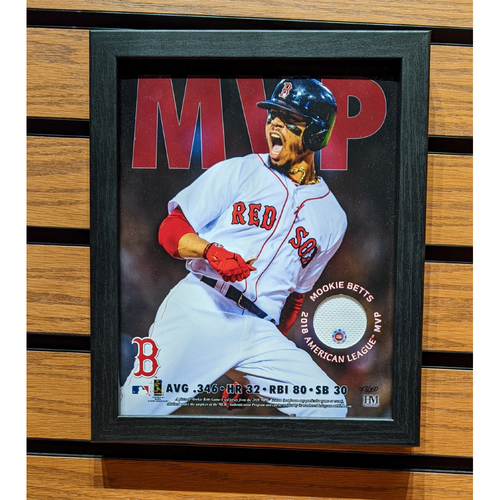 Photo of Mookie Betts 2018 MVP Game Used Jersey Framed Photo