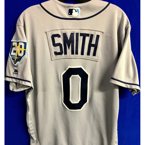 Photo of Game Used 20th Anniversary Road Gray Jersey: Mallex Smith - 2 Games - August 15 at NYY and August 17 at BOS