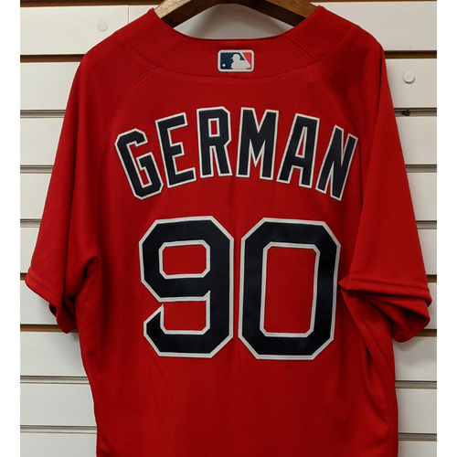 Photo of Frank German #90 Team Issued Nike Red Spring Training Jersey