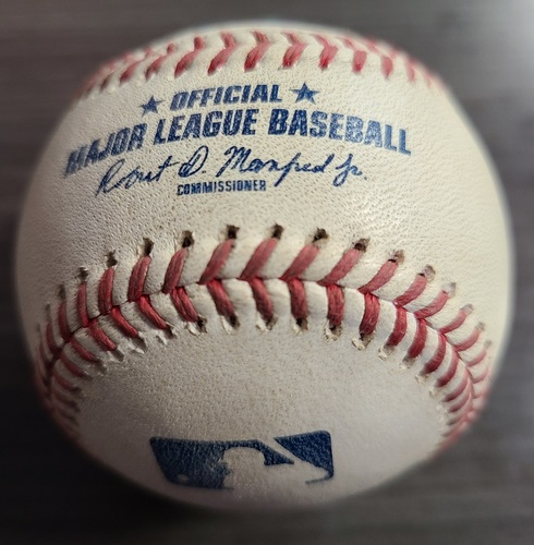 Photo of Authenticated Game Used Baseball: Single by Zack Short against Robbie Ray (Aug 20, 2021 vs DET). Top 8.