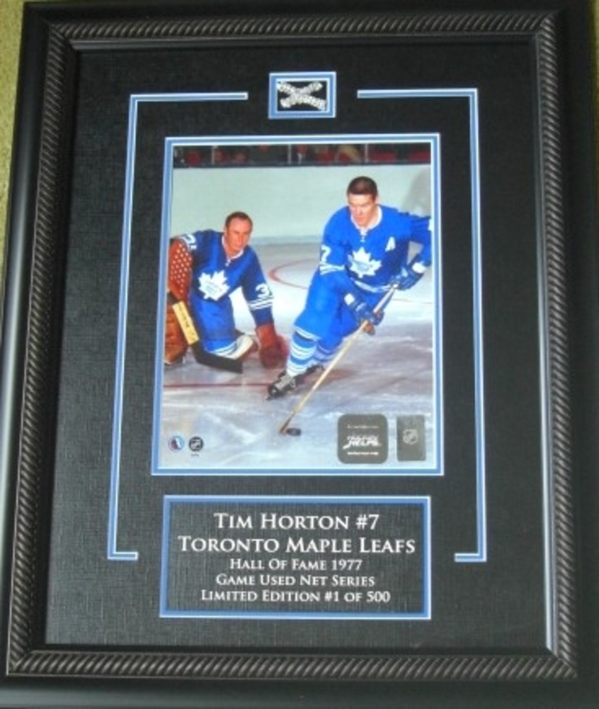 Tim HortonToronto Maple LeafsACTION8x10 Limited Edition GAME USED net series