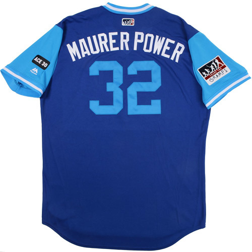"Photo of Brandon ""Maurer Power"" Maurer Kansas City Royals 2017 Game-Used Players Weekend Jersey"