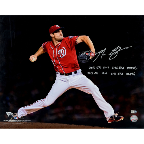 "Photo of Max Scherzer Washington Nationals Autographed 16"" x 20"" Red Pitching Photograph with 2016/2017 CY Stat Inscriptions - #31 in a L. E. of 31"