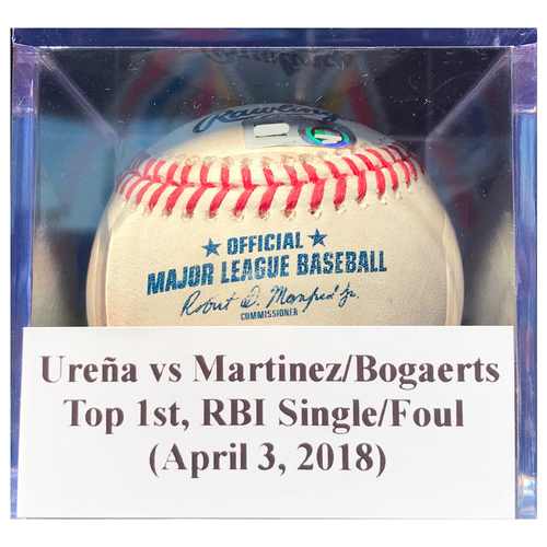Photo of Game-Used Baseball: Ureña vs Martinez/Bogaerts (BOS), Top 1st, RBI Single/Foul (April 3, 2018)