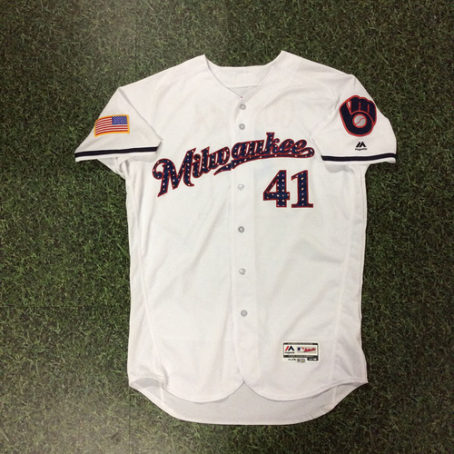 Photo of Junior Guerra Game-Used 2018 Stars & Stripes Jersey - 5.0 IP, 2 H, 0 ER, 8 SO, Win (7/3/18)
