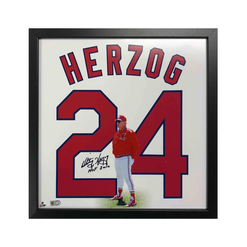 "Photo of Cardinals Authentics: St. Louis Cardinals Whitey Herzog Autographed 14""x14"" Uniframe"