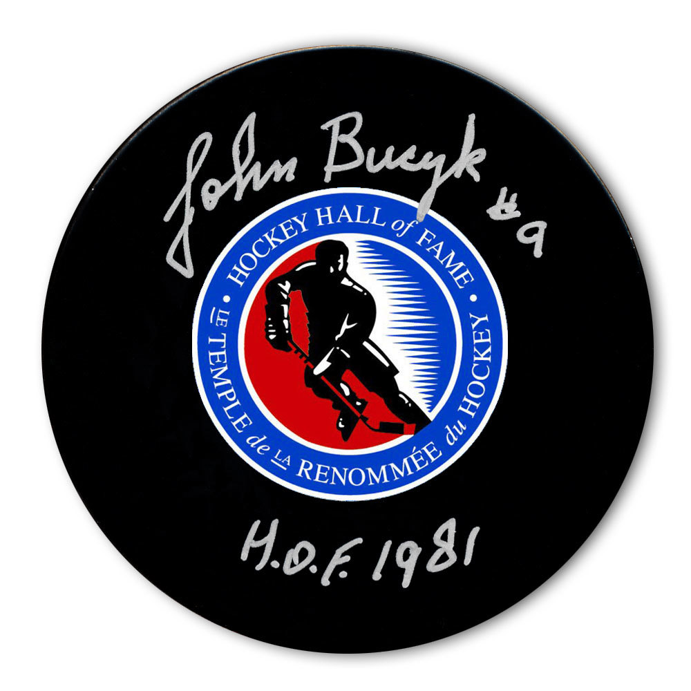 Johnny Bucyk Hockey Hall of Fame HOF Autographed Puck