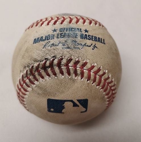 Photo of Authenticated Game Used Baseball - Jose Peraza Single against Jason Grilli (May 31, 2017 vs CIN). Top 7.