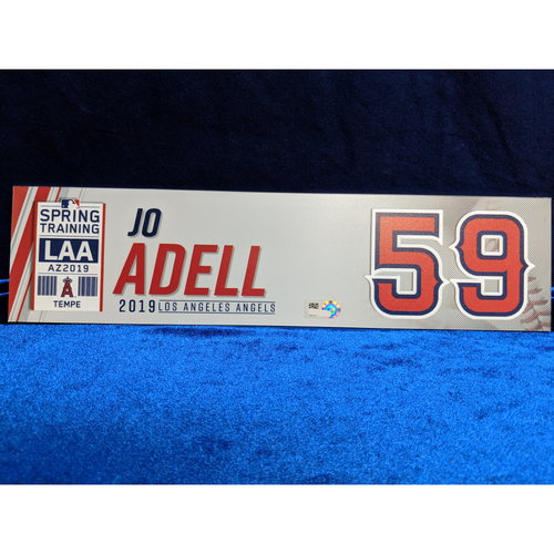 Photo of Jo Adell Team-Issued 2019 Spring Training Locker Tag