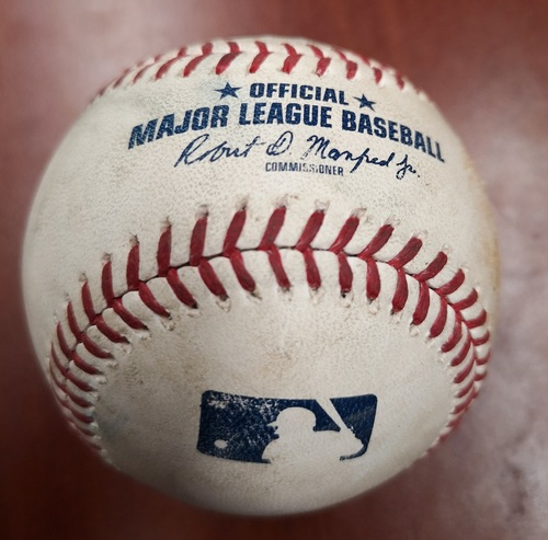 Photo of Authenticated Game Used Baseball - Single by Charlie Tilson against Marcus Stroman (May 11, 2019 vs CWS). Top 7.