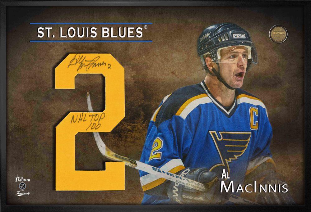 Al MacInnis Signed Jersey Number Framed Print Blues Blue Inscr. NHL TOP 100