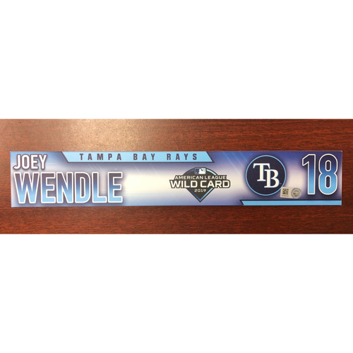 Photo of Game Used A.L. Wild Card Locker Tag: Joey Wendle - First Career Post Season Game