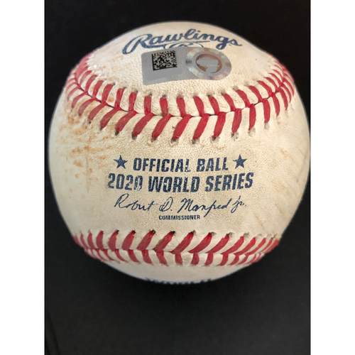 Photo of Game-Used Baseball - 2020 World Series - Los Angeles Dodgers vs. Tampa Bay Rays - Game 3 - Pitcher: Charlie Morton, Batter: Max Muncy (2-RBI Single, Hit Launch Speed: 107.6 MPH) - Top 3