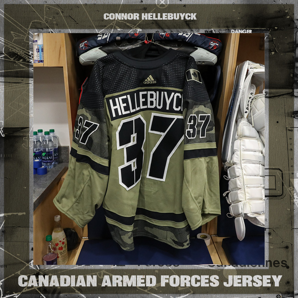 CONNOR HELLEBUYCK Warm Up Worn Canadian Armed Forces Jersey