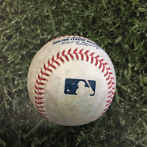 Game-Used Baseball MIN@MIL 04/04/21 - Adrian Houser - Jorge Polanco: Forceout