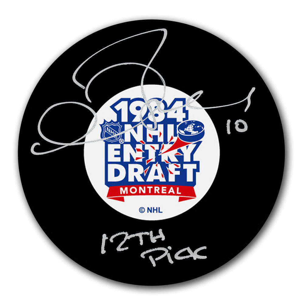 Gary Roberts 1984 NHL Draft Day 12th Pick Autographed Puck