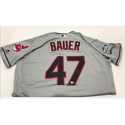 Trevor Bauer Team-Issued 2016 World Series Road Jersey