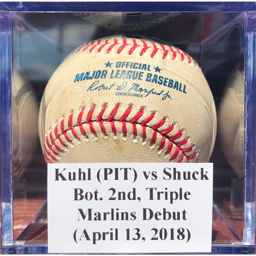 Photo of Game-Used Baseball: Kuhl (PIT) vs Shuck, Bot. 2nd, Triple - Marlins Debut (April 13, 2018)