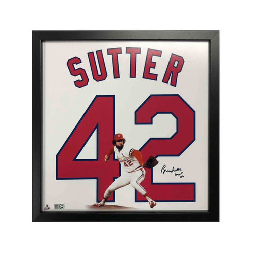 "Photo of Cardinals Authentics: St. Louis Cardinals Bruce Sutter Autographed 14""x14"" Uniframe"